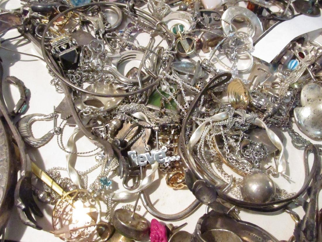 LARGE GROUP OF STERLING & OTHER COSTUME JEWELRY - 6