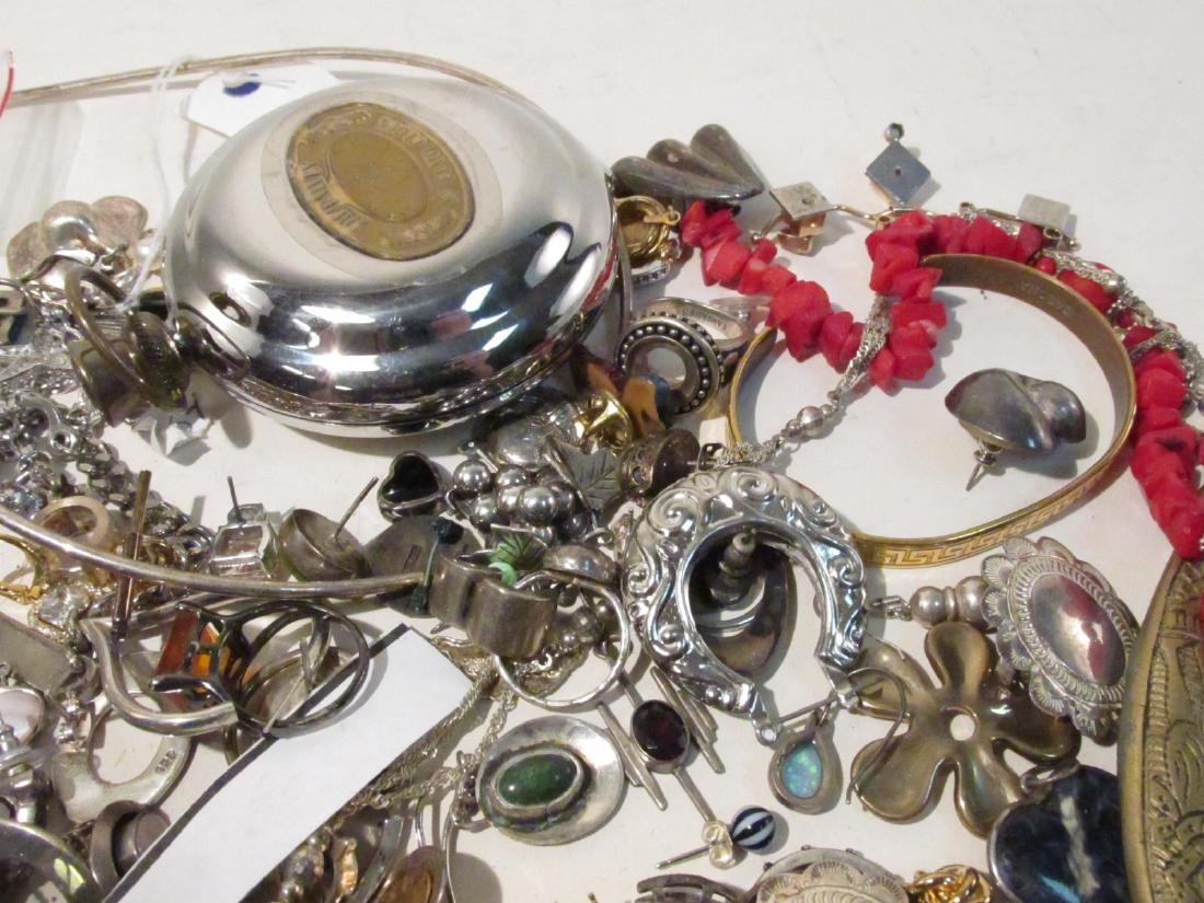 LARGE GROUP OF STERLING & OTHER COSTUME JEWELRY - 8