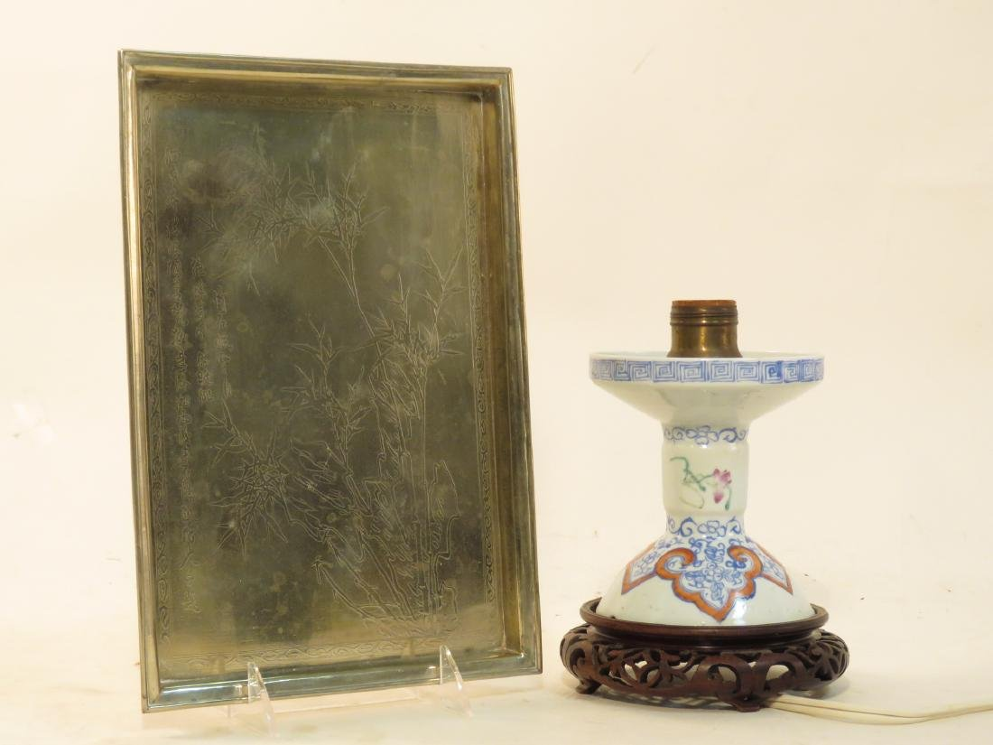 JAPANESE SILVER PLATED TRAY & CHINESE LAMP