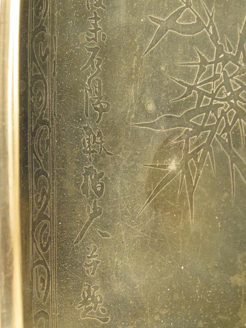 JAPANESE SILVER PLATED TRAY & CHINESE LAMP - 5