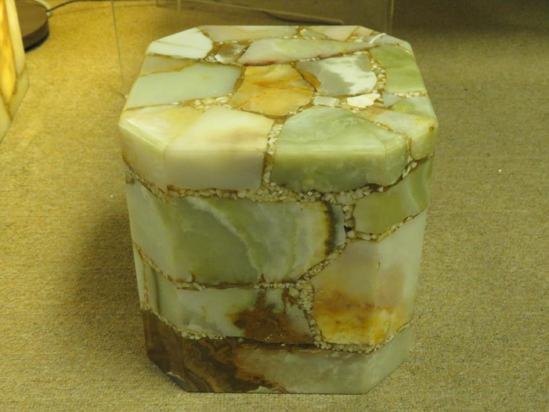 SMALL PIECED AGATE LIGHTED PEDESTAL STAND - 2