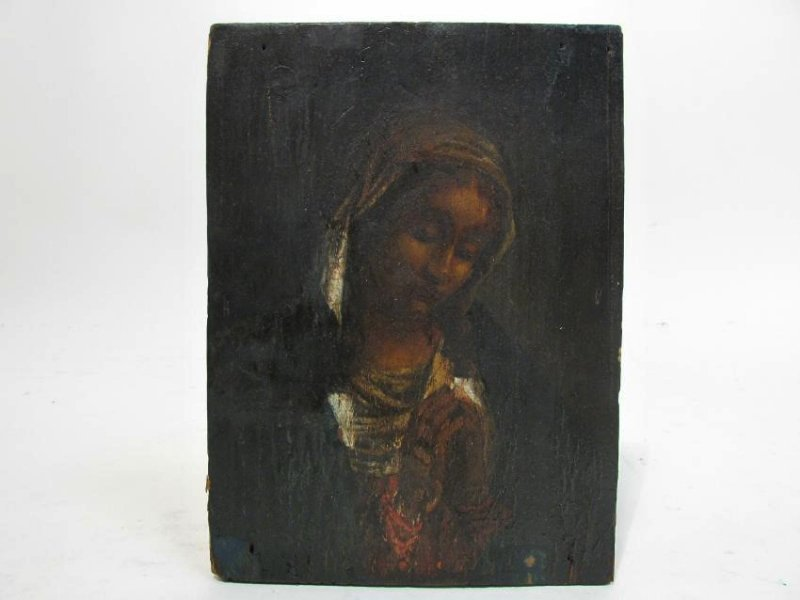 19TH C PAINTING ON PANEL OF THE VIRGIN MARY
