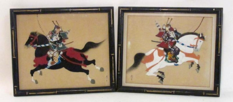 TWO JAPANESE WARRIOR PAINTINGS ON SILK