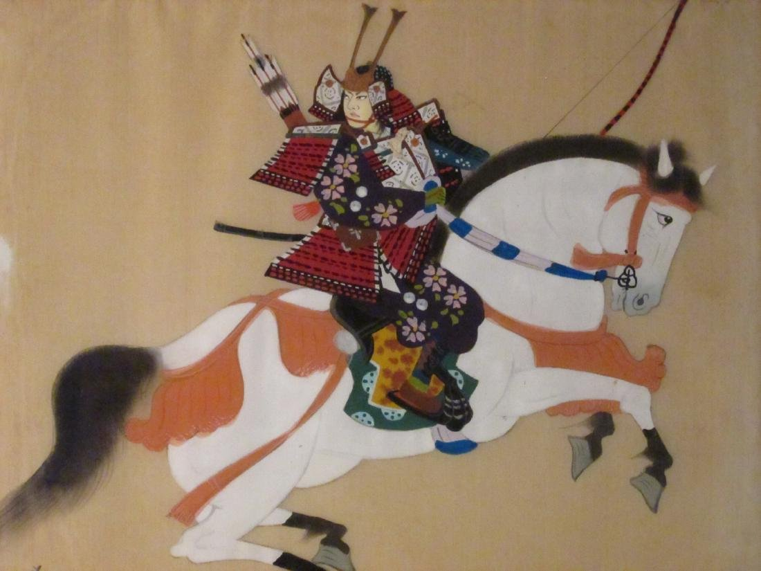 TWO JAPANESE WARRIOR PAINTINGS ON SILK - 2