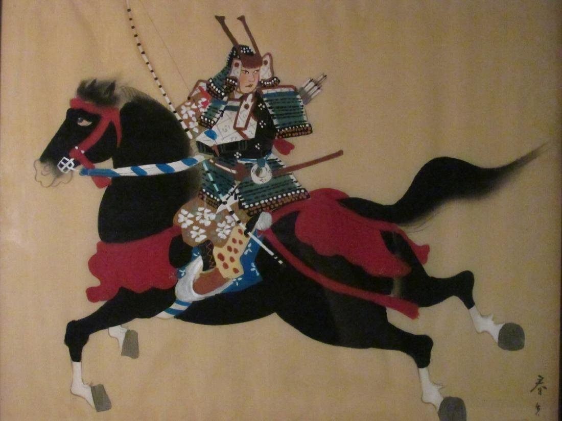 TWO JAPANESE WARRIOR PAINTINGS ON SILK - 5