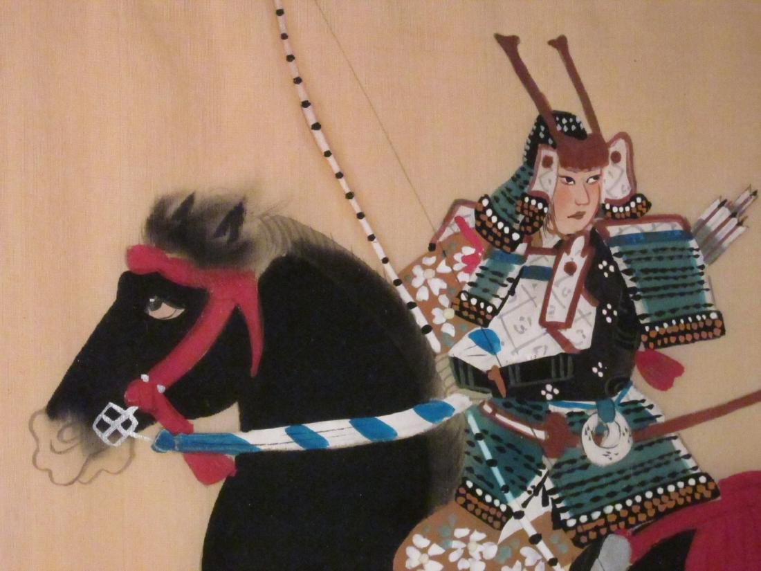 TWO JAPANESE WARRIOR PAINTINGS ON SILK - 6