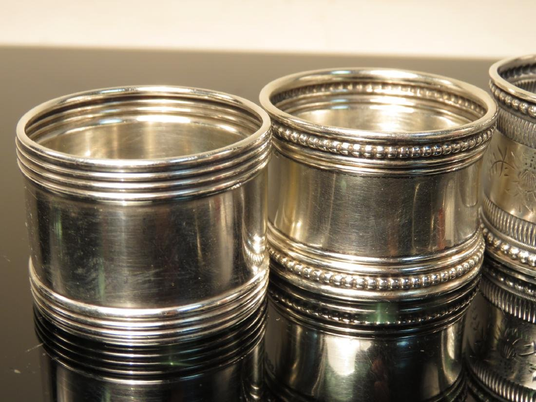 EIGHT ASSORTED STERLING SILVER NAPKIN RINGS - 2