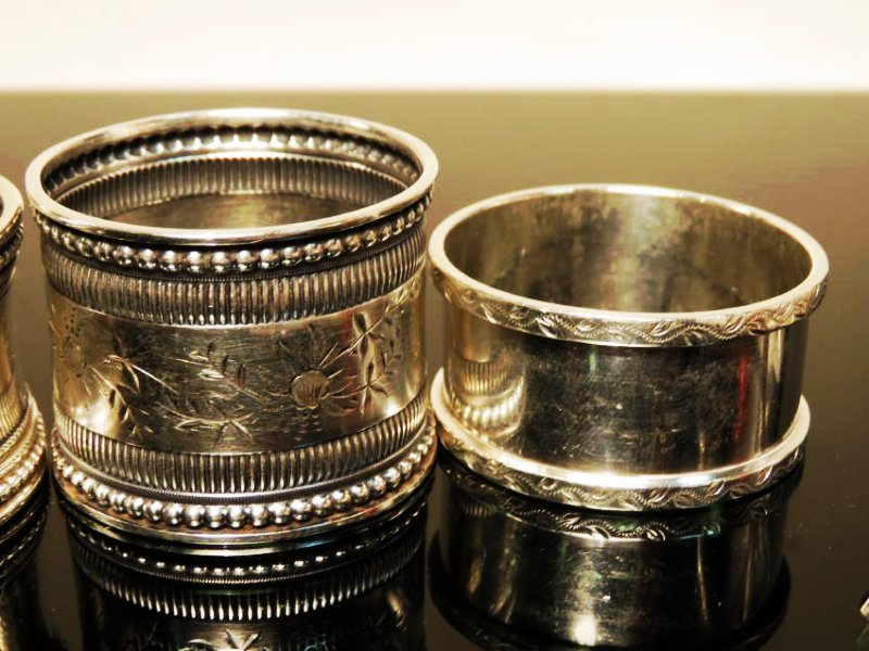 EIGHT ASSORTED STERLING SILVER NAPKIN RINGS - 3
