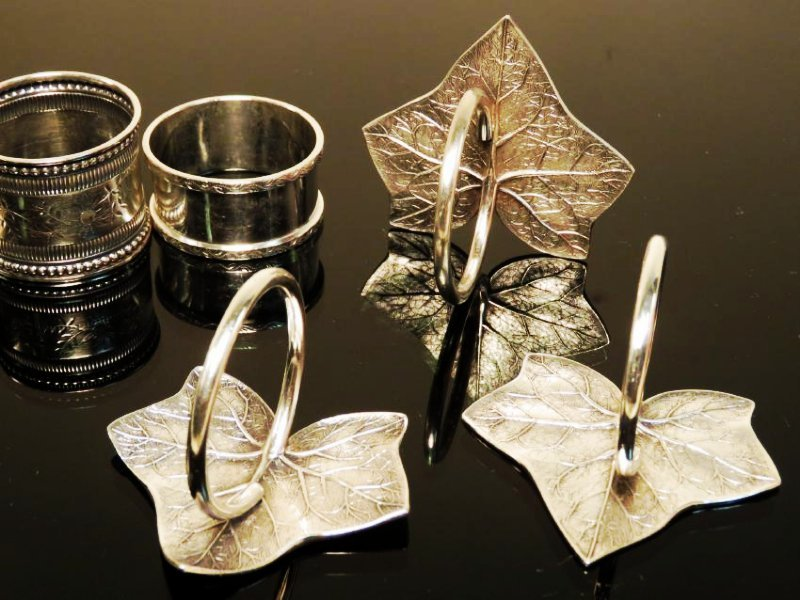 EIGHT ASSORTED STERLING SILVER NAPKIN RINGS - 4