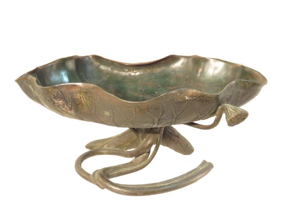 ANTIQUE CHINESE BRONZE LILY PAD COMPOTE TAZZA