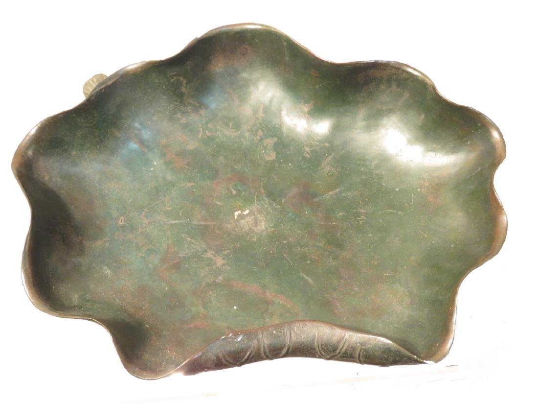 ANTIQUE CHINESE BRONZE LILY PAD COMPOTE TAZZA - 2