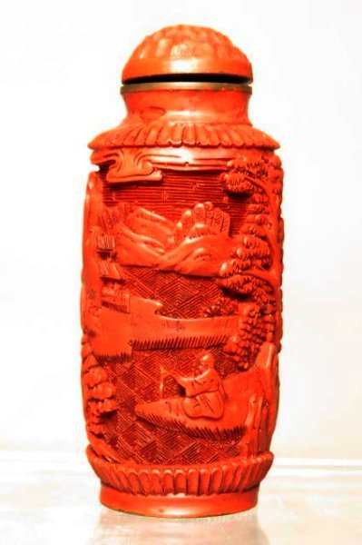 ANTIQUE CHINESE CARVED CINNABAR SNUFF BOTTLE - 2