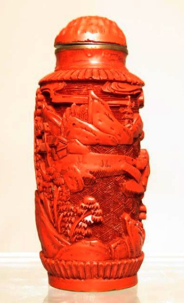 ANTIQUE CHINESE CARVED CINNABAR SNUFF BOTTLE - 3