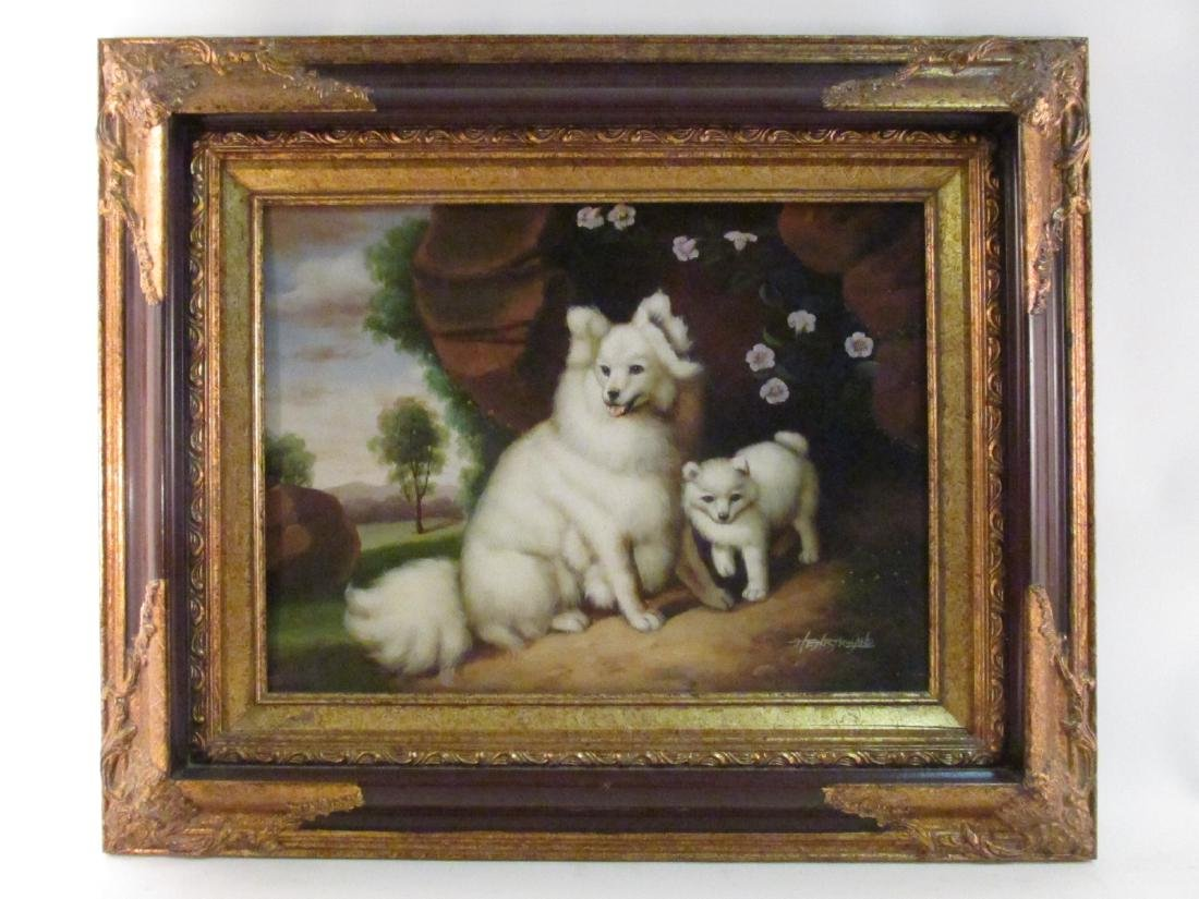HENRY ROLAND OIL ON PANEL PAINTING: TWO DOGS