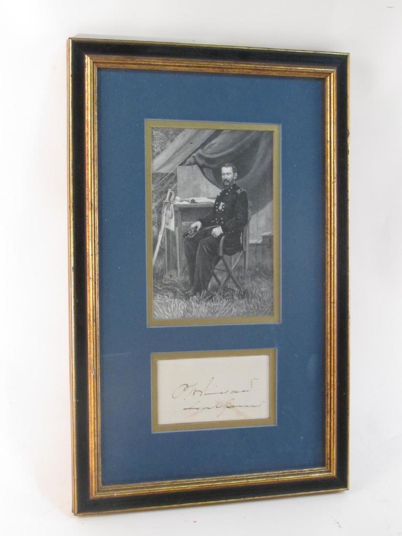 ANTIQUE FRAMED MAJOR GENERAL SIGNATURE CARD