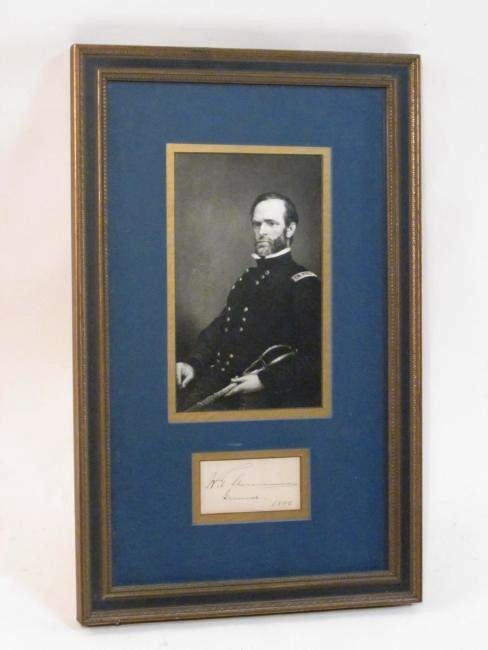 WILLIAM TECUMSEH SHERMAN FRAMED SIGNATURE 1886