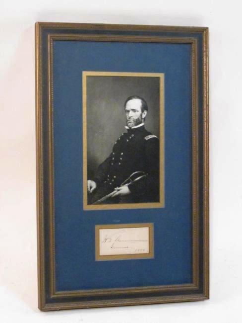 WILLIAM TECUMSEH SHERMAN FRAMED SIGNATURE 1886