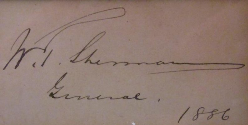 WILLIAM TECUMSEH SHERMAN FRAMED SIGNATURE 1886 - 4