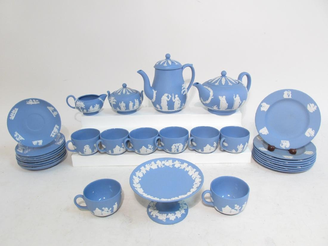 VINTAGE WEDGWOOD BLUE JASPERWARE TEA SET 29 PCS