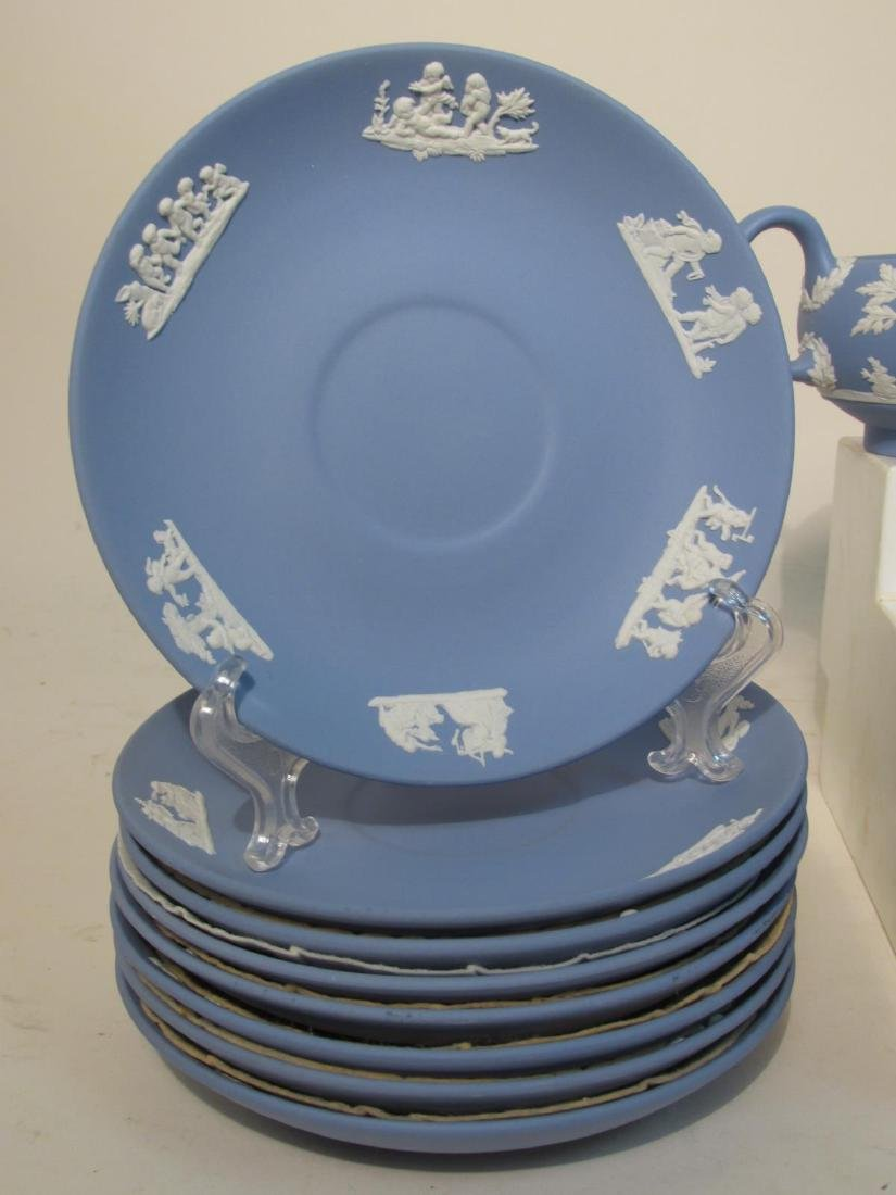 VINTAGE WEDGWOOD BLUE JASPERWARE TEA SET 29 PCS - 5
