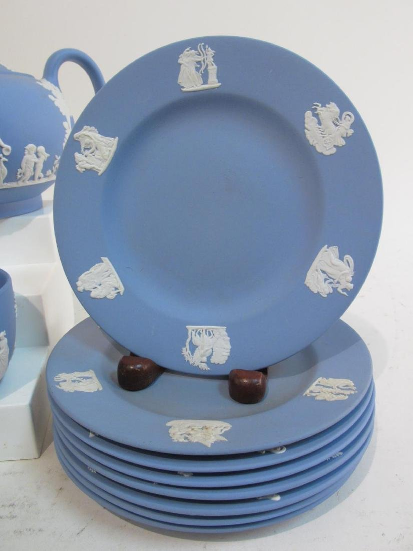 VINTAGE WEDGWOOD BLUE JASPERWARE TEA SET 29 PCS - 8