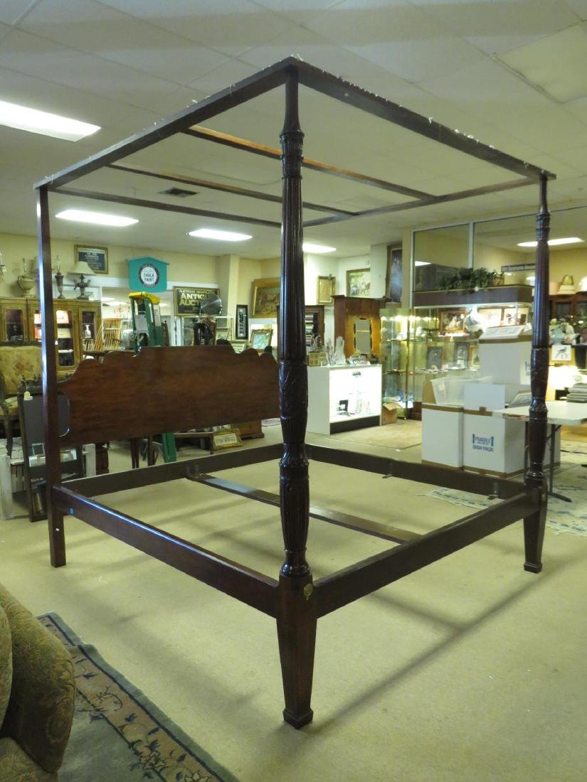 MAHOGANY FINISHED FOUR POSTER KING SIZE BED FRAME