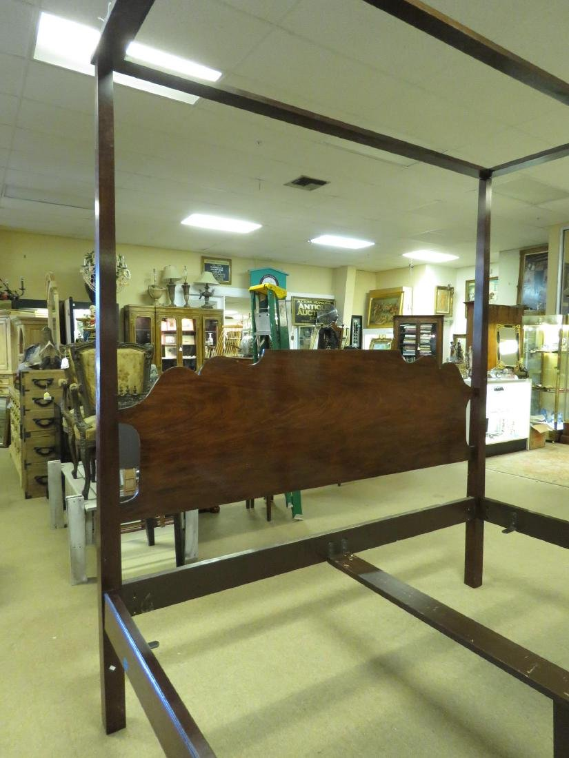 MAHOGANY FINISHED FOUR POSTER KING SIZE BED FRAME - 2