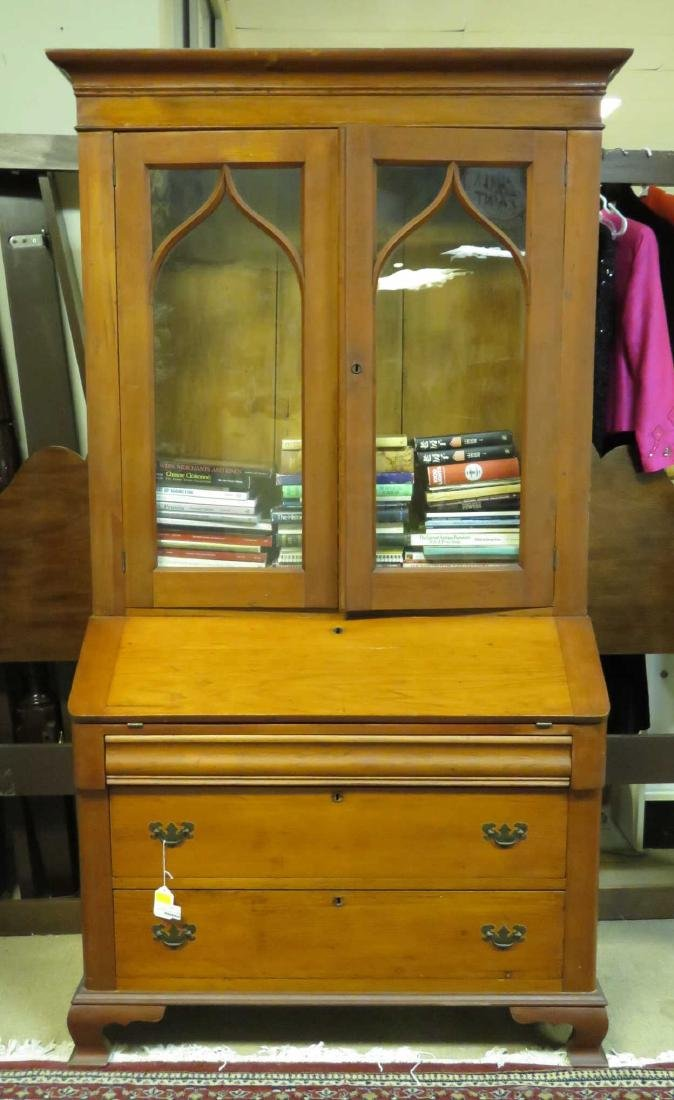 EDWARDIAN CHERRYWOOD SECRETARY BOOKCASE