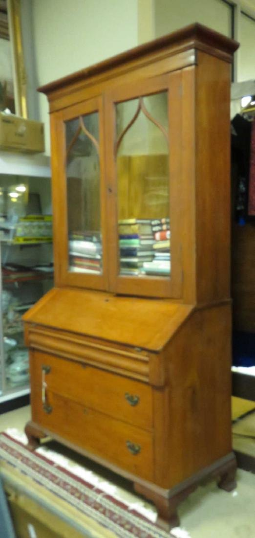 EDWARDIAN CHERRYWOOD SECRETARY BOOKCASE - 2