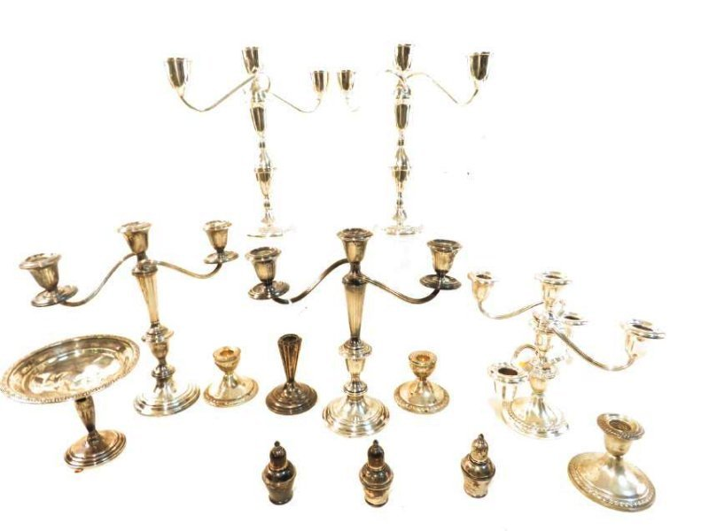 ASSORTED WEIGHTED STERLING SILVER CANDELABRA, ETC.