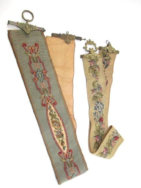 TWO ANTIQUE TAPESTRY & BRONZE BELL PULLS