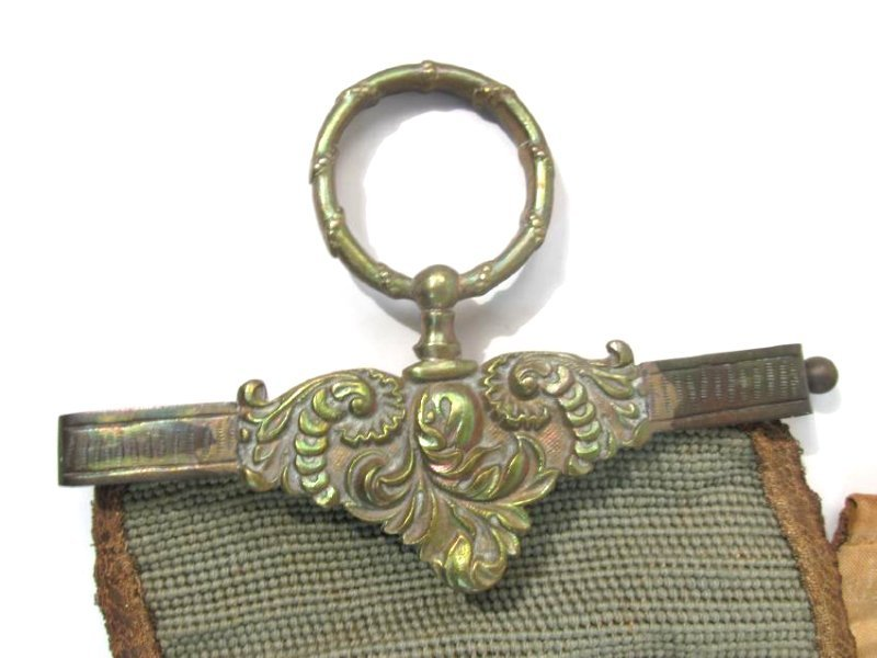TWO ANTIQUE TAPESTRY & BRONZE BELL PULLS - 2