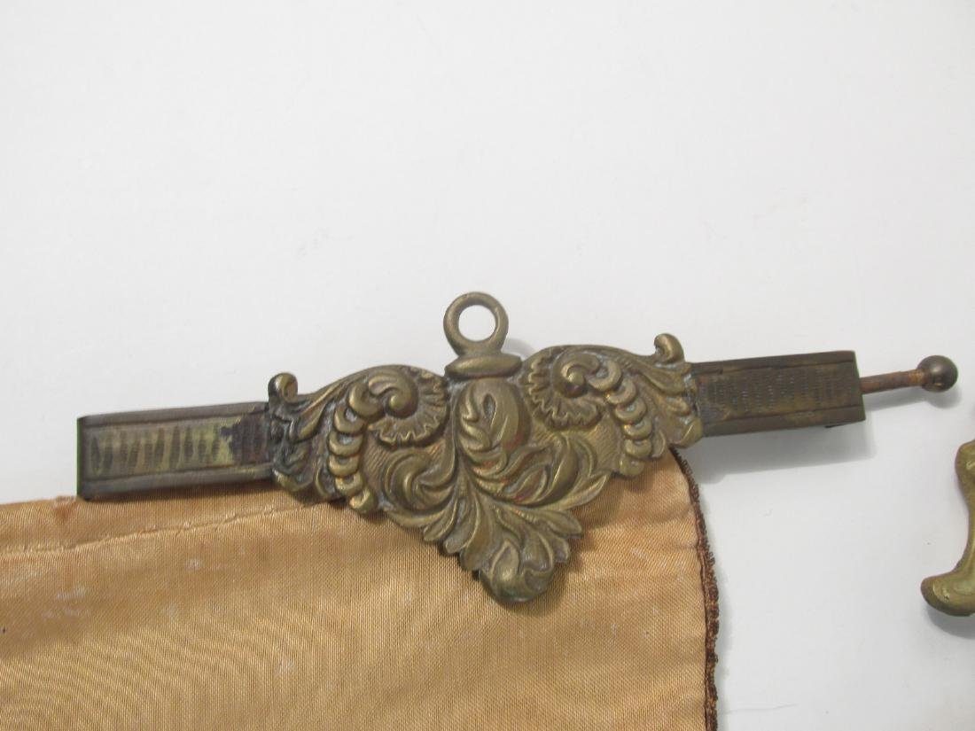 TWO ANTIQUE TAPESTRY & BRONZE BELL PULLS - 3