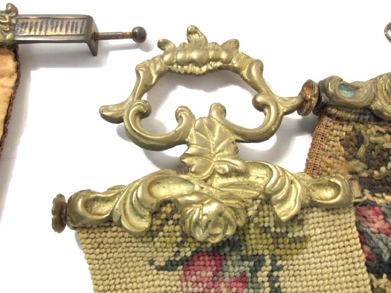 TWO ANTIQUE TAPESTRY & BRONZE BELL PULLS - 4