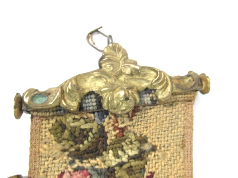 TWO ANTIQUE TAPESTRY & BRONZE BELL PULLS - 5