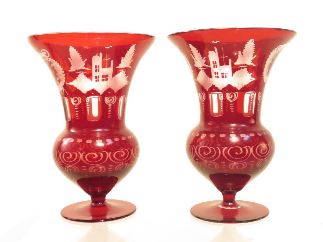 ESTATE ART GLASS LOT: BOHEMIAN, ENGRAVED ETC. 8 PC - 7