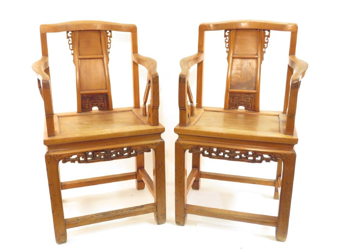 PAIR CHINESE CARVED TEAKWOOD THRONE CHAIRS