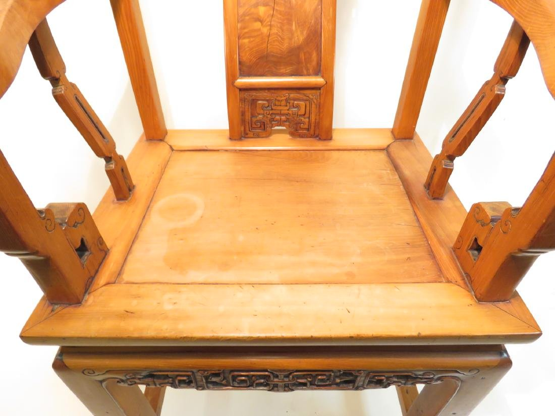 PAIR CHINESE CARVED TEAKWOOD THRONE CHAIRS - 3