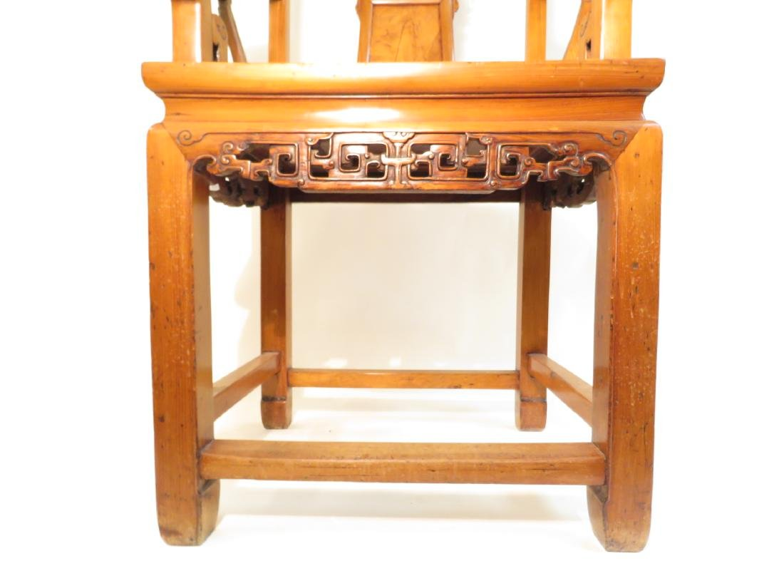 PAIR CHINESE CARVED TEAKWOOD THRONE CHAIRS - 4