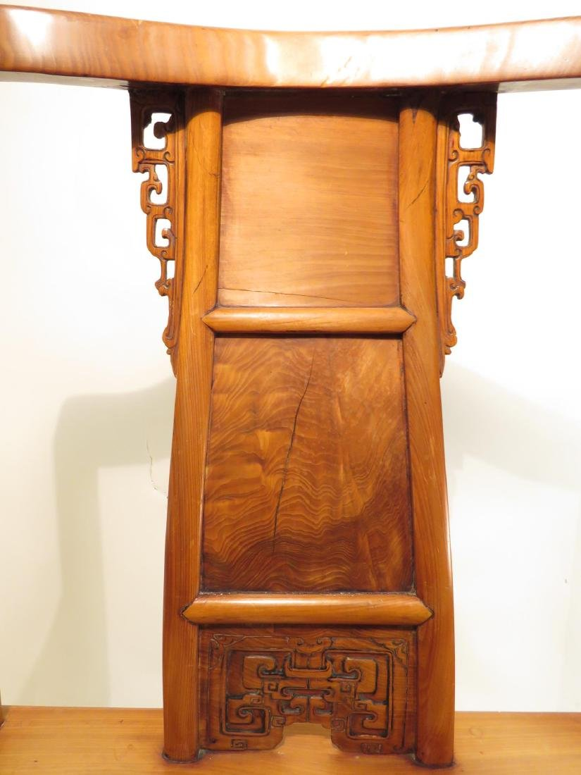 PAIR CHINESE CARVED TEAKWOOD THRONE CHAIRS - 7