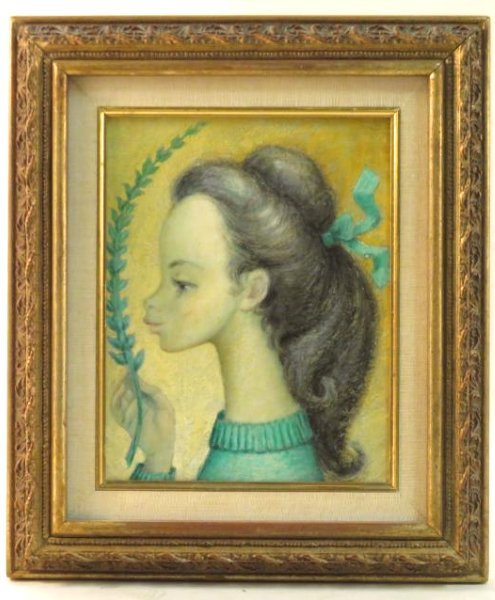 SMALL OIL ON CANVAS PORTRAIT SIGNED MORA