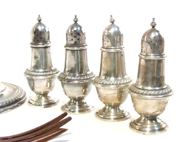 ASSORTED STERLING SILVER TABLEWARES: SALT/PEPPER - 5