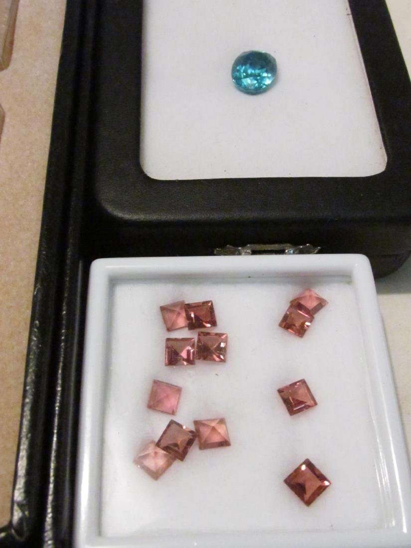 TWO TRAYS OF LOOSE GEMSTONES - SAPPHIRE, TOPAZ ETC - 8