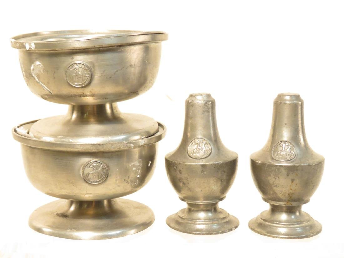 TWENTY-TWO PIECES VINTAGE PEWTER TABLEWARES - 2