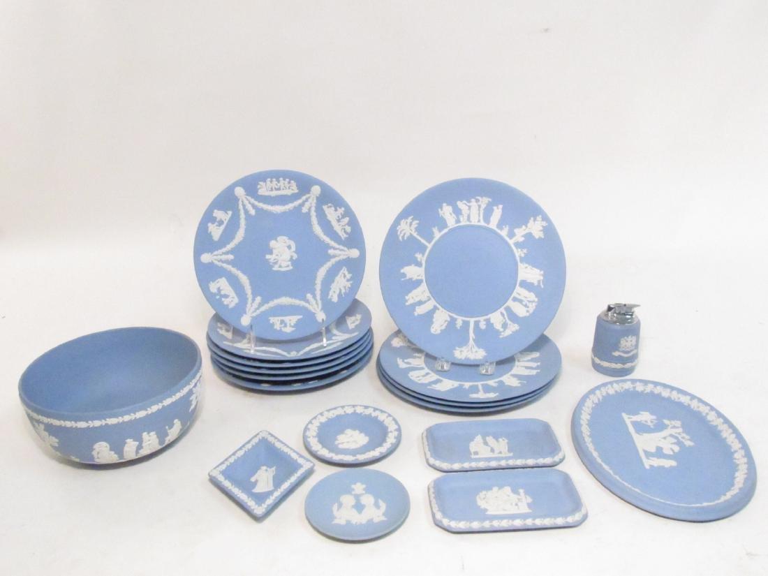WEDGWOOD BLUE JASPERWARE DINNERWARE 18 PCS