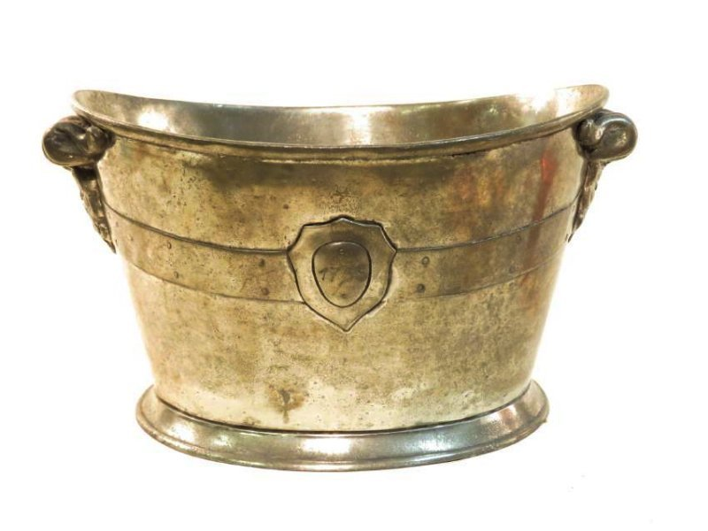 ANTIQUE ITALIAN PEWTER HANDLED PLANTER