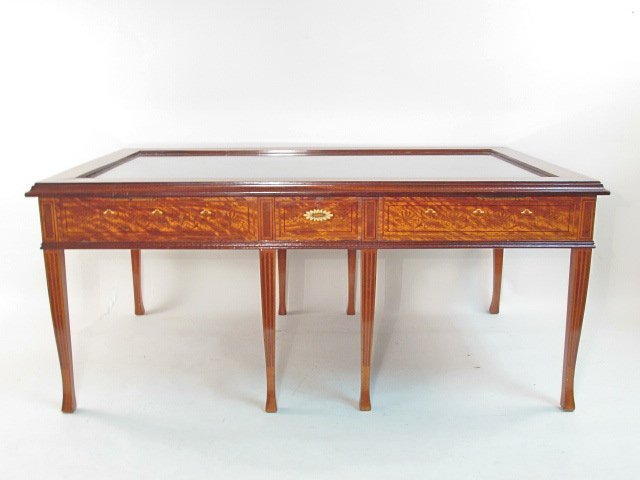 EDWARDIAN MARQUETRY WOOD & IVORY COCKTAIL TABLE