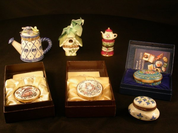 405: 7 PC ASST KINGSLEY HALCYON DAYS ETC ENAMEL BOXES