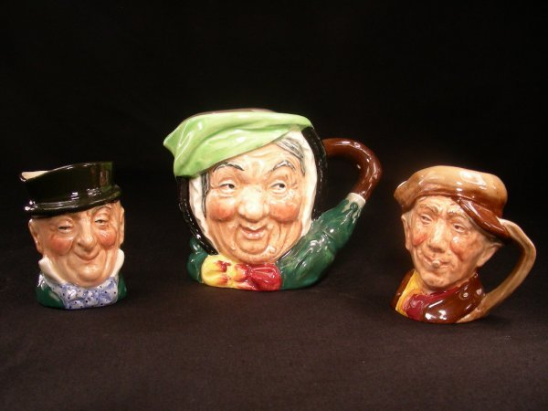 408: ROYAL DOULTON TOBY MUGS ASST 3 PCS