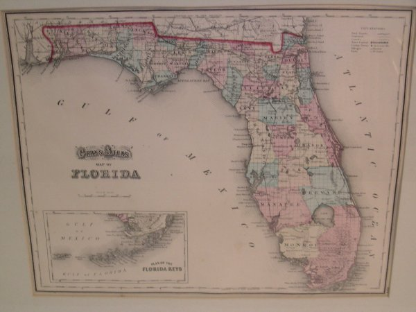 421: HAND COLORED MAP GRAYS ATLAS FLORIDA  FROM 1873